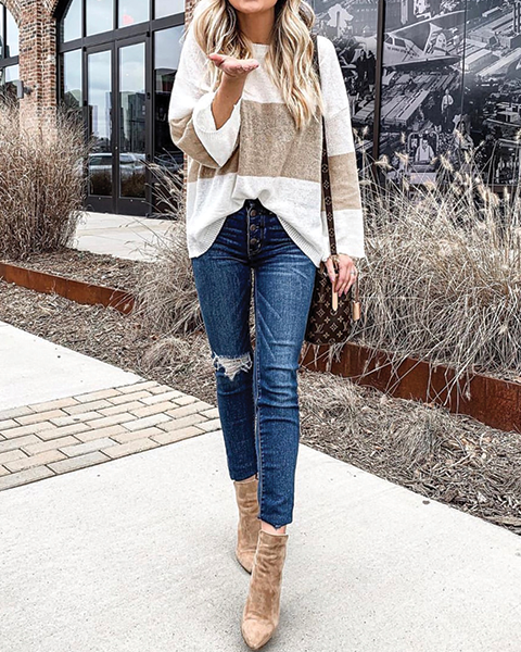 Lightweight Tan Stripe Sweater
