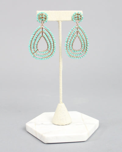 'HUNTER' Beaded Teardrop Earrings - Turquoise