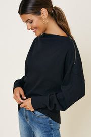 ZOEY Zip Detail Sweatshirt-BLACK