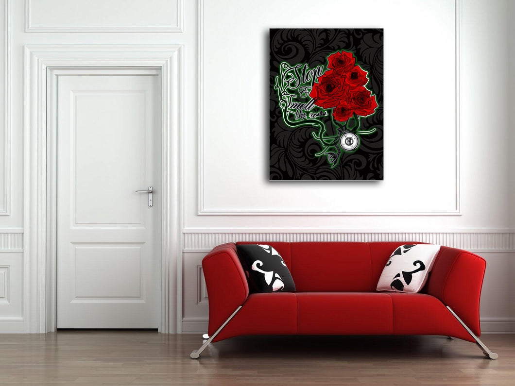 Lifestyle Wall Art: Stop & Smell the Roses (Wood Frame Ready to Hang)