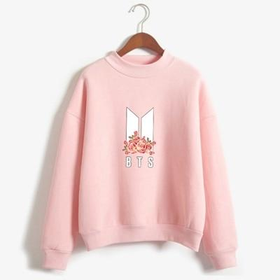 Fleece Sweatshirt Tops Flower Print - LM Collection