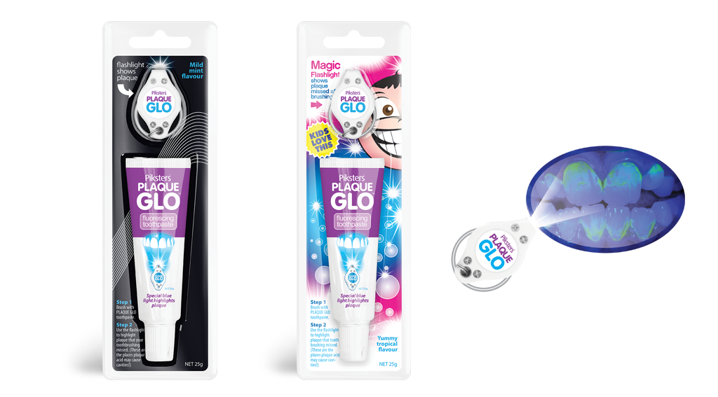 Plaque GLO toothpaste and torch system for adults and children