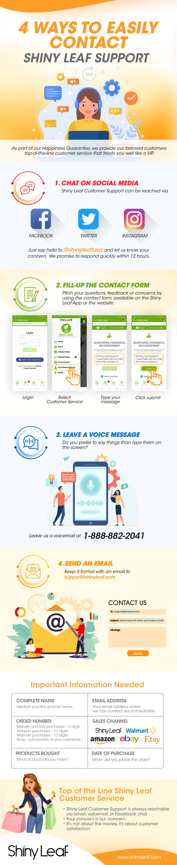 4 Ways to Contact Shiny Leaf Support Infographic