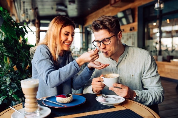 Sweet couple in a cafe