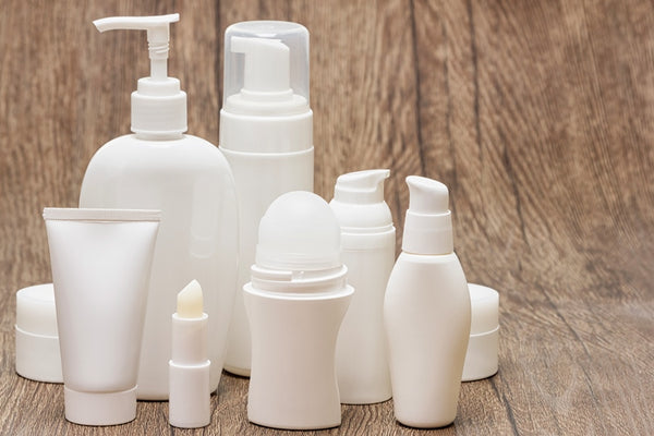 Body care products in different containers
