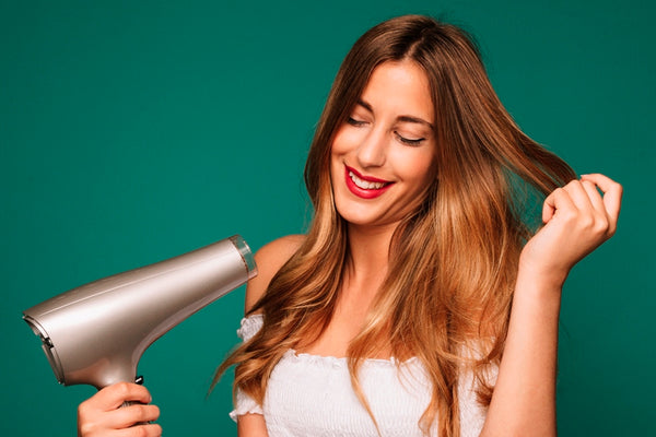 Drying hair with a hair dryer