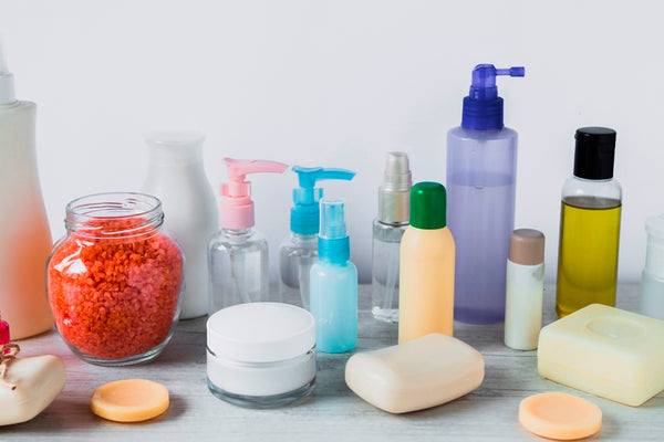 Various products for hair care routine