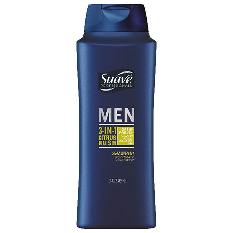 Suave Citrus Rush 3-in-1 Shampoo, Conditioner, Body Wash for Men