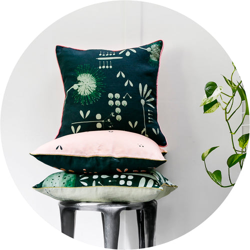 Moonlight Hakea Linen Cushion Cover