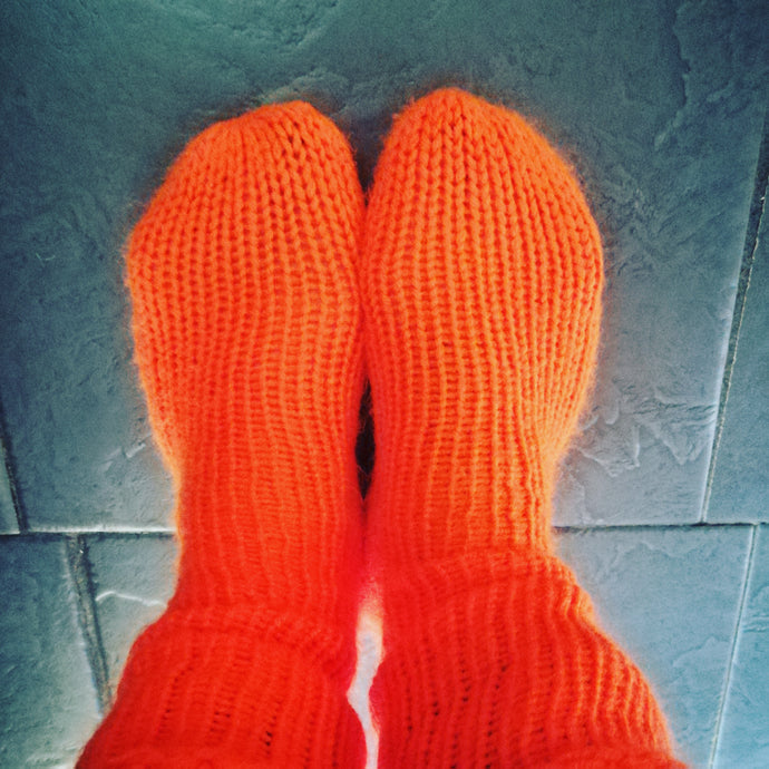 Orange Handmade Knitted Winter Socks #Socks