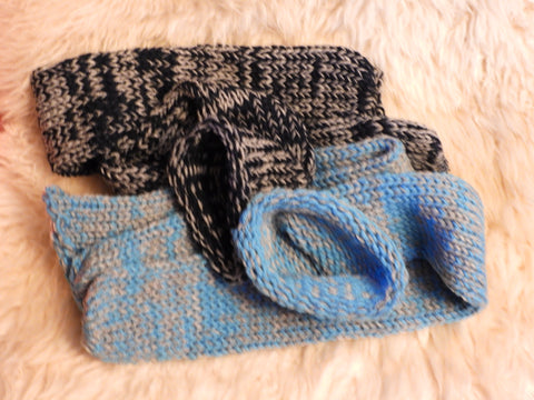 Blue and Grey Handmade Knitted Socks by Retrosheep.com