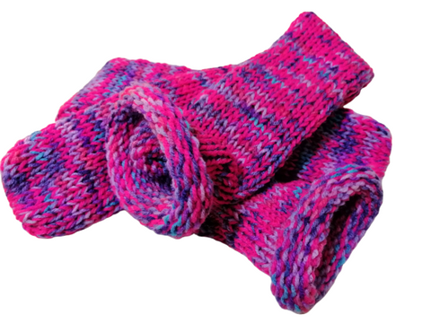 Hand Knit Socks - Retro Pink Lilac Rainbow Mix