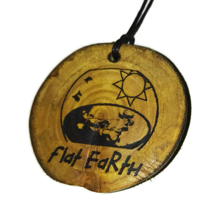 Flat Earth Necklace Pendant Wooden Charm Natural Necklace Earrings Keyring Charms #FlatEarth