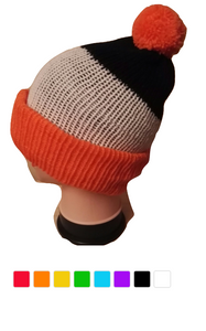 Retro Bobble Hat Black White Striped Handmade Thick Double Knit Sky Blue Orange Green Grey Pink #Bobblehat