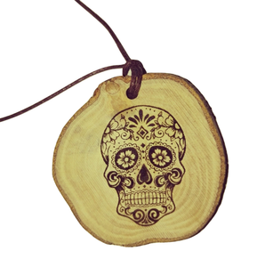 Day of the Dead Floral Skull  Necklace Pendant Wooden Charm Natural Necklace Earrings Keyring Charms #Skull
