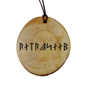 Your Name Engraved Armanen Rune Personalised Wood Necklace