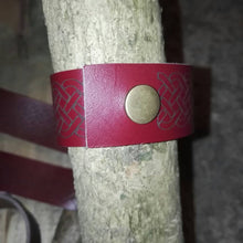 Burgundy Genuine Leather Handmade Wristband cuff Bangle Celtic Knot #Celtic