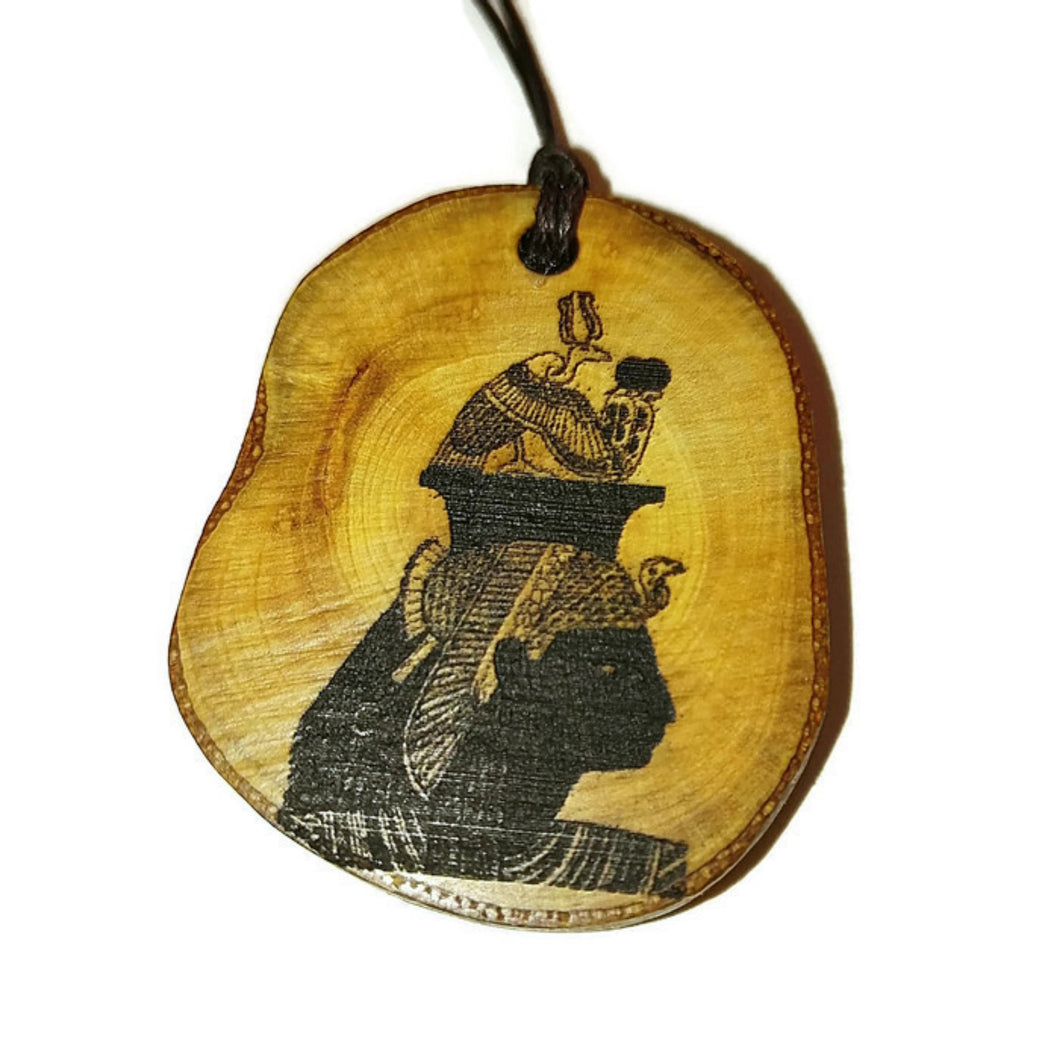 Nekhbet Egyptian Winged Vulture Goddess Egyptian Deities God Egyptian Deities God Necklace Wooden Charm Pendant #Nekhbet