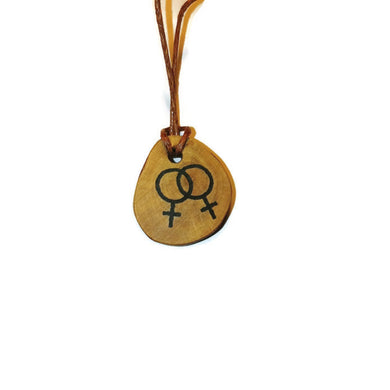 Lesbian Symbol Handmade Wood Necklace Earrings Keyring #Lesbian