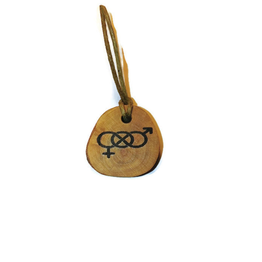Bisexual Symbol Handmade Wood Necklace Earrings Keyring #Bisexual