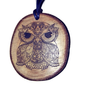 Owl Floral Necklace Pendant Wooden Charm Natural Necklace Earrings Keyring Charms #Owl