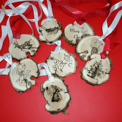 Set of 8 Traditional Bespoke Wood Engraved Christmas Decorations #Christmas