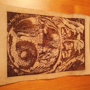 Behemoth and Leviathan Leather The Book of Job Genuine Leather Engraving #WilliamBlake