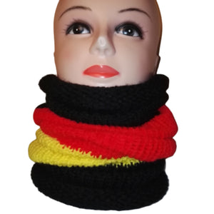 German Flag Colour Mix Cowl Neck Head Scarf Handmade Knitted Cowl by Retrosheep.com