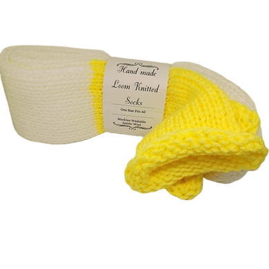 White Yellow Knitted Handmade Wool Unisex bed sofa Socks Casual Novelty Custom Personalised Socks #Socks #Retro