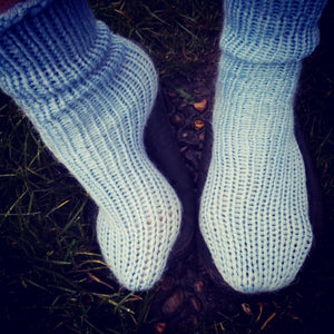Baby Blue Knitted Handmade Wool Unisex bed sofa Socks Casual Novelty Custom Personalised Socks #Socks #Retro