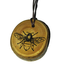 Worker Bee Engraved Necklace Honey Bee Pendant Handmade Wooden Charm Natural Personalised Necklace Earrings Keyring Charms #Bee