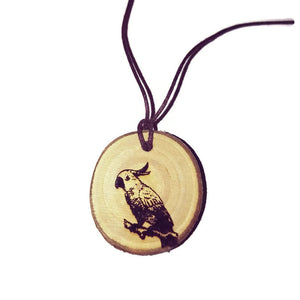 Cockatoo Parrot Bird Necklace Pendant Handmade Wooden Charm Natural Personalised Necklace Earrings Keyring Charms #Cockatoo
