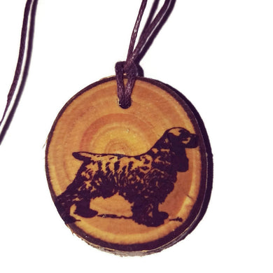 Spaniel Dog choker Pendant Handmade Wooden Charm Natural Personalised Necklace Earrings Keyring Charms #Handmade