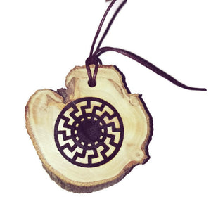 Black Sun symbol choker Pendant Handmade Wooden Charm Natural Personalised Necklace Earrings Keyring Charms #Handmade