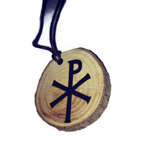 Christogram Jesus Christ Religious Christian choker Pendant Handmade Wooden Charm Natural Personalised Necklace Earrings Keyring Charms #Handmade