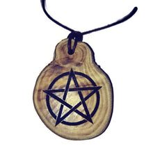 Pentagram Engraved Necklace Pendant Handmade Wooden Charm Natural Personalised Necklace Earrings Keyring Charms #Pentagram