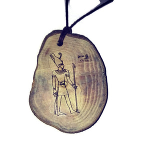Atum Egyptian Deities God Perfection Egyptian Deities God Necklace Wooden Charm Pendant #Atum