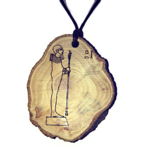 God Ptah Pharaoh hieroglyph Priest Symbol Handmade Wood Necklace Pendant Charm  #Ptah