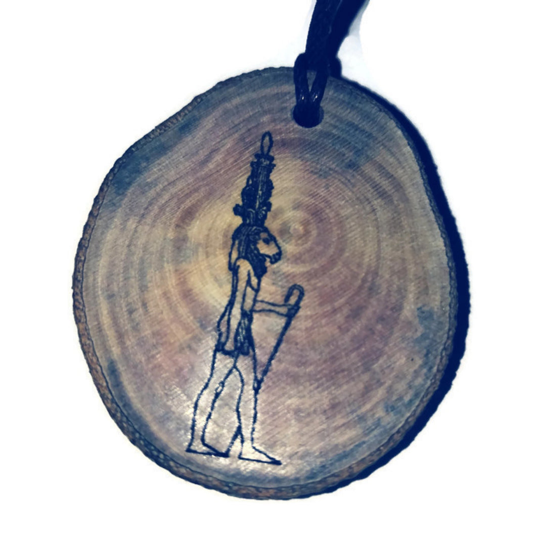 Khnemu hieroglyph Priest God Symbol Handmade Wood Necklace Pendant Charm  # Khnemu