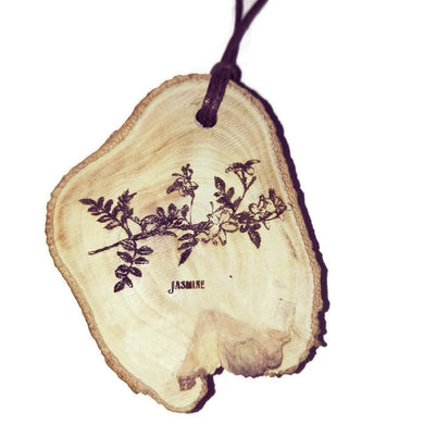 Jasmine flower Necklace Pendant Wooden Charm Natural Necklace Earrings Keyring Charms #Jasmine