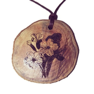 Primula Vulgaris Primrose flower Necklace Pendant Wooden Charm Natural Necklace Earrings Keyring Charms #Primrose