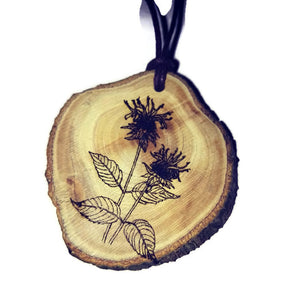 Bergamot Bee Balm Flower Necklace Pendant Wooden Charm Natural Necklace Earrings Keyring Charms #Flowers