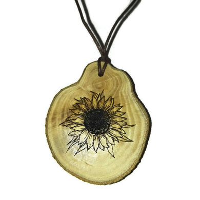 Sunflower Necklace Pendant Wooden Charm Natural Necklace Earrings Keyring Charms #Sunflower