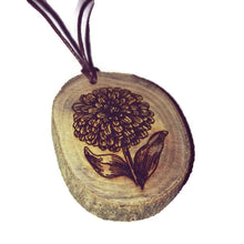 Dahlia flower Necklace Pendant Wooden Charm Natural Necklace Earrings Keyring Charms #Dahlia