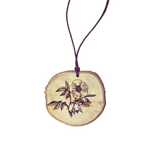 Eglantine Rose Flower Necklace Pendant Wooden Charm Natural Necklace Earrings Keyring Charms #Rose