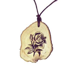 Rose Flower Necklace Pendant Wooden Charm Natural Necklace Earrings Keyring Charms #Rose