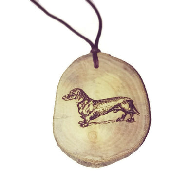 Dachshund Dog choker Pendant Handmade Wooden Charm Natural Personalised Necklace Earrings Keyring Charms #Handmade