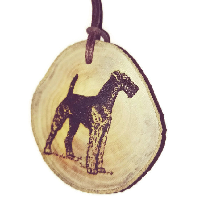 Airedale Terrier Dog choker Pendant Handmade Wooden Charm Natural Personalised Necklace Earrings Keyring Charms #Handmade