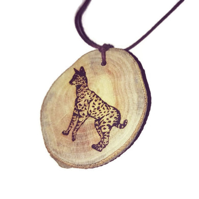 Serval African Wild Cat choker Pendant Handmade Wooden Charm Natural Personalised Necklace Earrings Keyring Charms #Handmade