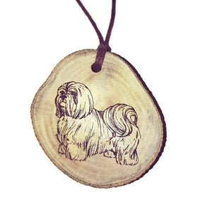 Shih Tzu Dog choker Pendant Handmade Wooden Charm Natural Personalised Necklace Earrings Keyring Charms #Handmade